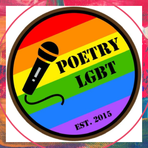 """The Poetry LGBT logo, with a microphone and the text """"poetry LGBT"""" on a rainbow flag background."""